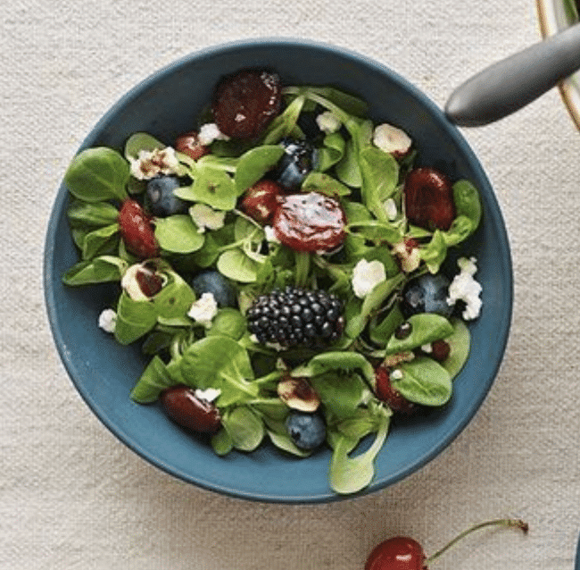 Salad with cherries and strawberries